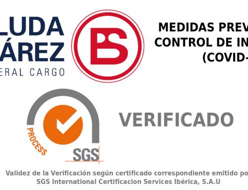 Boluda&Suárez General Cargo obtiene la certificación de SGS para su protocolo de Medidas Preventivas y Control de Infecciones (Covid-19)